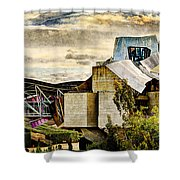 sunset at the marques de riscal Hotel - frank gehry - vintage version Shower Curtain