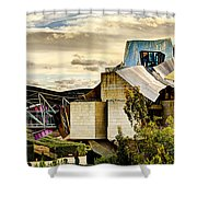 sunset at the marques de riscal Hotel - frank gehry Shower Curtain