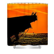 Sunset At The Ss Atlantus Concrete Ship Shower Curtain