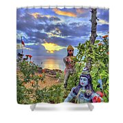 Sunset At The Temple Shower Curtain