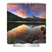 Sunset At Trillium Lake With Mount Hood Shower Curtain