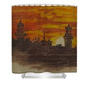 Sunset At Twin Lights Shower Curtain