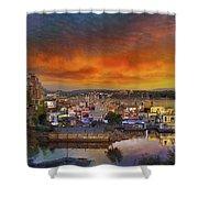 Sunset At Victoria Inner Harbor Fisherman's Wharf Shower Curtain