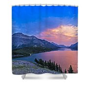 Sunset At Waterton Lakes National Park Shower Curtain