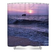 Sunset Beach Nj And Ship Shower Curtain