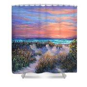 Sunset Beach Painting With Walking Path And Sand Dunesand Blue Waves Shower Curtain