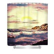 Sunset Beach Pastel Splash - Elegance With Oil Shower Curtain