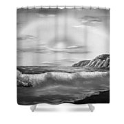 Sunset Beach Pastel Splash In Black And White Shower Curtain
