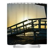 Sunset Behind A Lifeguard Station On Venice Beach Ca Shower Curtain