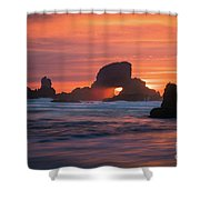 Sunset Behind Arch At Oregon Coast Usa Shower Curtain