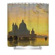 Sunset Behind The Church Of Santa Maria Della Salute Shower Curtain