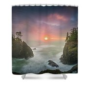 Sunset Between Sea Stacks With Trees Of Oregon Coast Shower Curtain