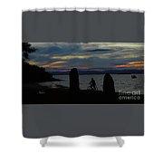 Sunset Bicycle At Earth Clock Burlington Vermont Panorama Shower Curtain