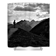 Sunset Black And White Shower Curtain