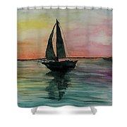 Sunset Boat 1 Shower Curtain