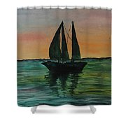 Sunset Boat 2 Shower Curtain