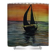 Sunset Boat 3 Shower Curtain
