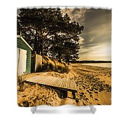 Sunset Boat Shed Shower Curtain