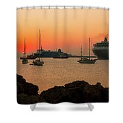 Sunset, Boats And Sea Shower Curtain