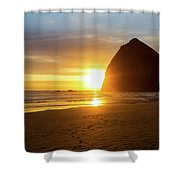 Sunset By Haystack Rock At Cannon Beach Shower Curtain