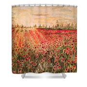 Sunset By The Poppy Fields Shower Curtain