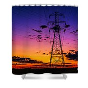 Sunset By The Wires Shower Curtain