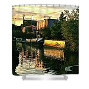 Sunset Canal Reflections Shower Curtain