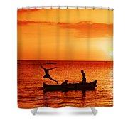 Sunset Canoe Jump Shower Curtain