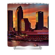 Sunset City Downtown By The River Shower Curtain