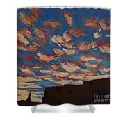 Sunset Clouds Over Santa Fe Shower Curtain by Erin Fickert-Rowland