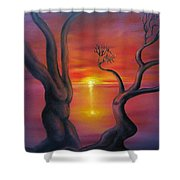 Sunset Dance Fantasy Oil Painting Shower Curtain
