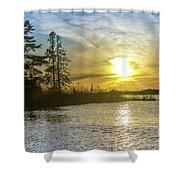 Sunset Dollarville Flooding Newberry Michigan -0243 Shower Curtain