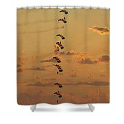Sunset Falcons Stack Formation Shower Curtain