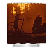 Sunset Female Amish Farmer Shower Curtain