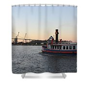 Sunset Ferry In Savannah Shower Curtain