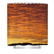 Sunset Fiery Orange Sunset Art Prints Sky Clouds Giclee Baslee Troutman Shower Curtain