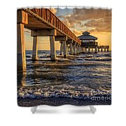 Sunset Fort Myers Beach Fishing Pier Shower Curtain