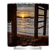 Sunset From Beneath The Pier Shower Curtain