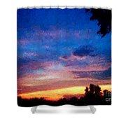 Sunset In A Deep Blue Sky Line Shower Curtain