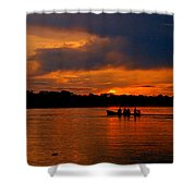 Sunset In Amazon River Shower Curtain