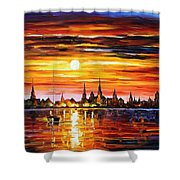 Sunset In Barcelona Shower Curtain