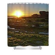 Sunset In Gale Beach. Albufeira, Portugal Shower Curtain