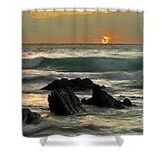 Sunset In Masua Beach Shower Curtain