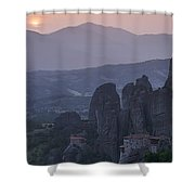Sunset In Meteora Shower Curtain