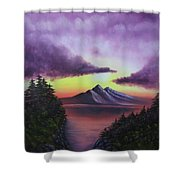 Sunset In Mountains Original Oil Painting Shower Curtain