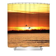 Sunset In Orange Shower Curtain