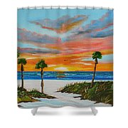 Sunset In Paradise Shower Curtain by Lloyd Dobson