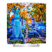 Sunset In Pere Lachaise Abstraction Shower Curtain