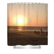 Sunset In Summertime On Beaches Shower Curtain