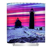 Sunset In Winter At Grand Haven Lighthouse Shower Curtain